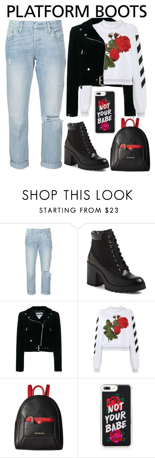 """""""Roses"""" by chiaral95 ❤ liked on Polyvore featuring Levi's, BP., Moschino, Off-White, Love Moschino and PlatformBoots"""