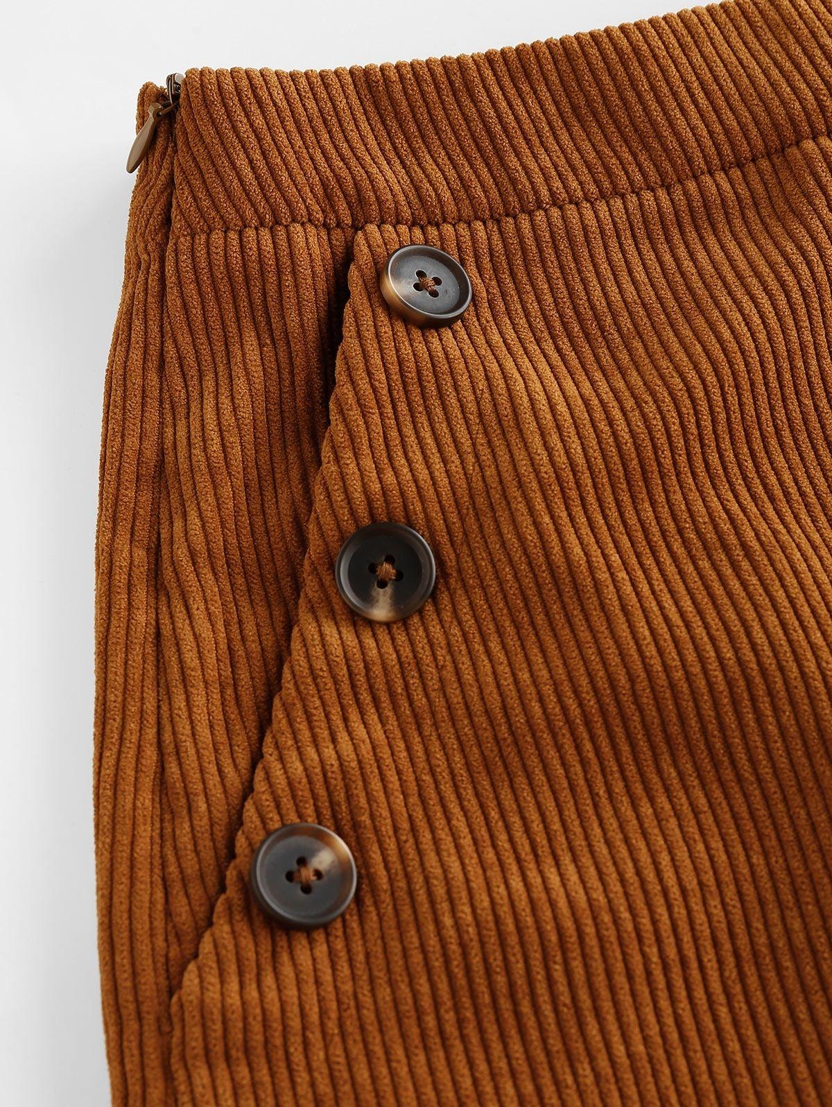 Zaful Corduroy Pocket Mock Button Shorts Brown Spon