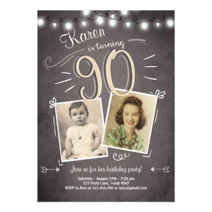 90th Birthday Invitation Vintage Ninety Birthday Invitations