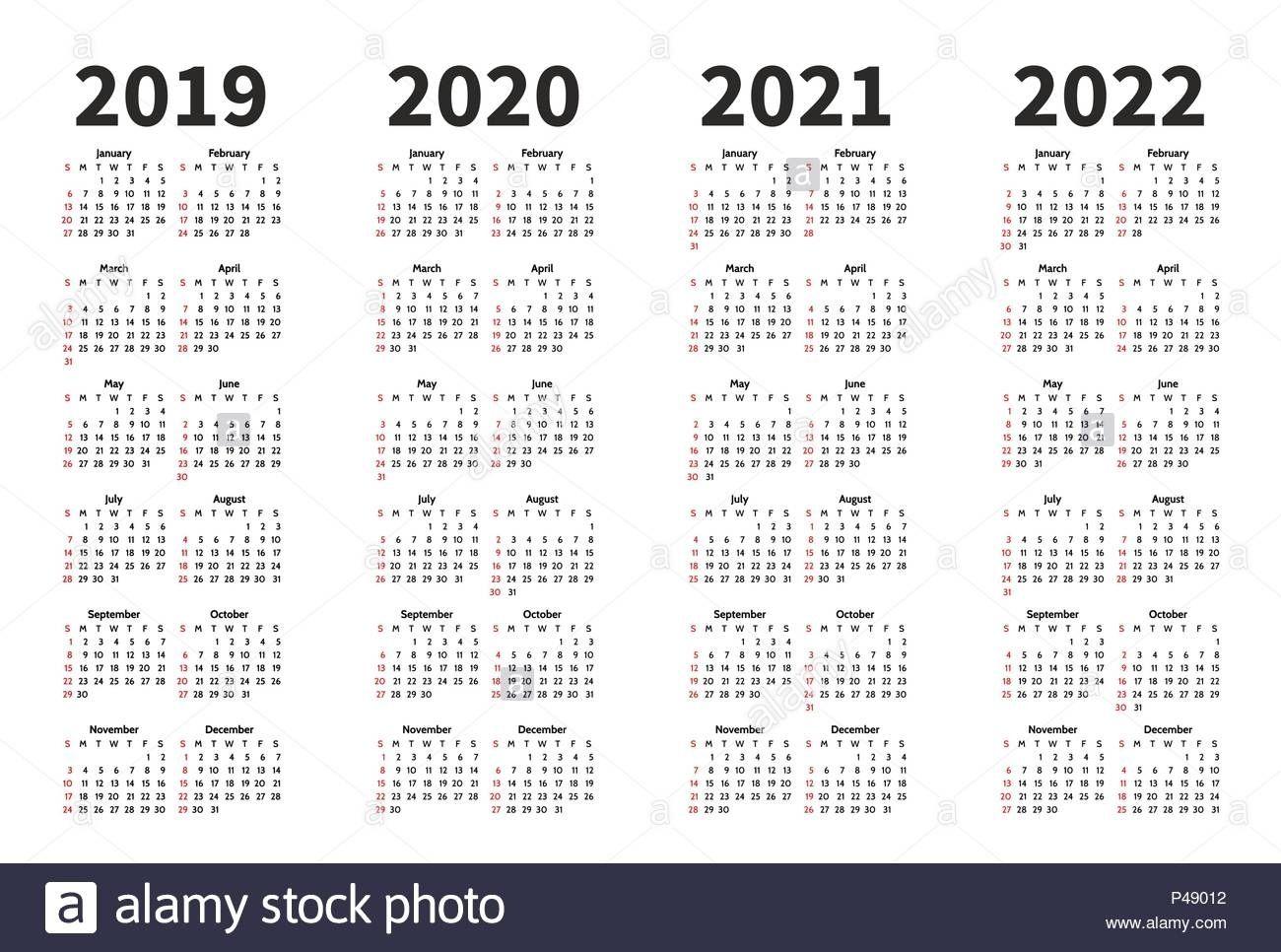 Exceptional 4 Year Calendar 2019 To 2020 In 2020 Calendar Printables Calendar Template Blank Calendar Template