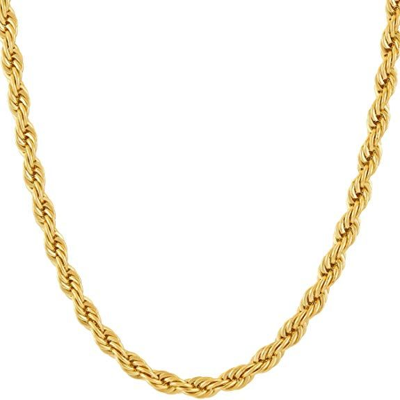 Lifetime Jewelry 5mm Rope Chain 24k Gold With Inlaid Bronze Premium Fashion Jewelry Pendant Gold Necklace Women Gold Chains For Men Fashion Jewellery Pendants