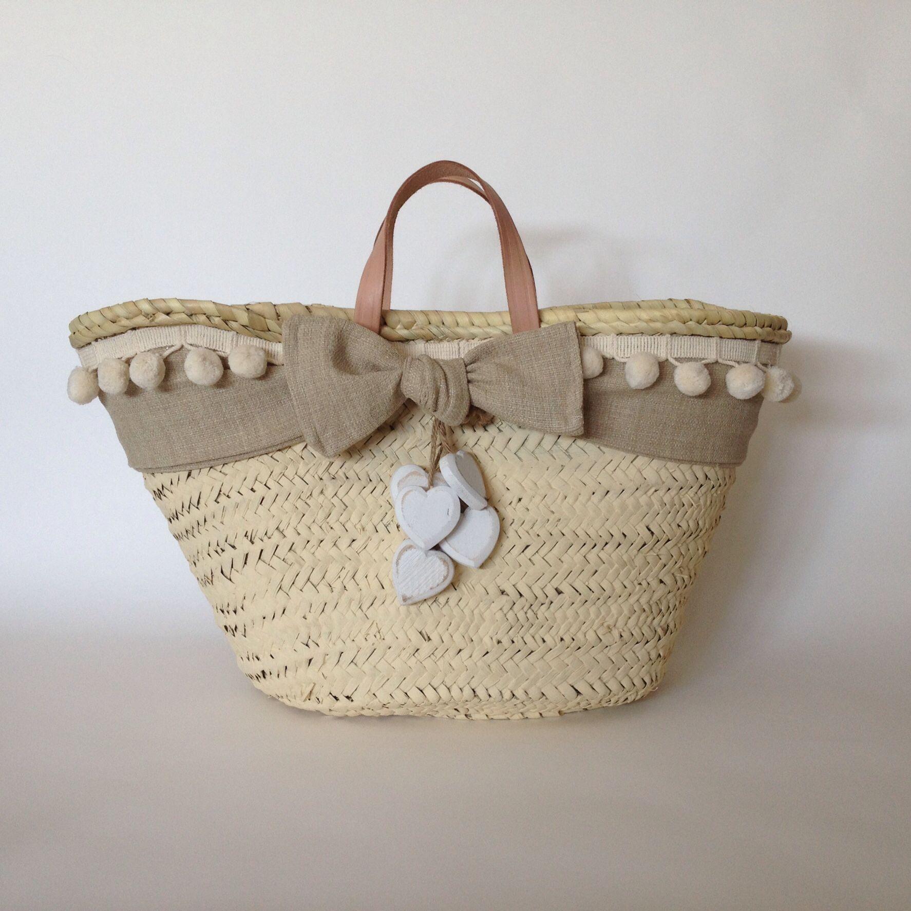 Capazo clara pintado y decorado por cuqui miluki bolsos capazos cestas bolsas y alcofas - Capazo mimbre playa ...