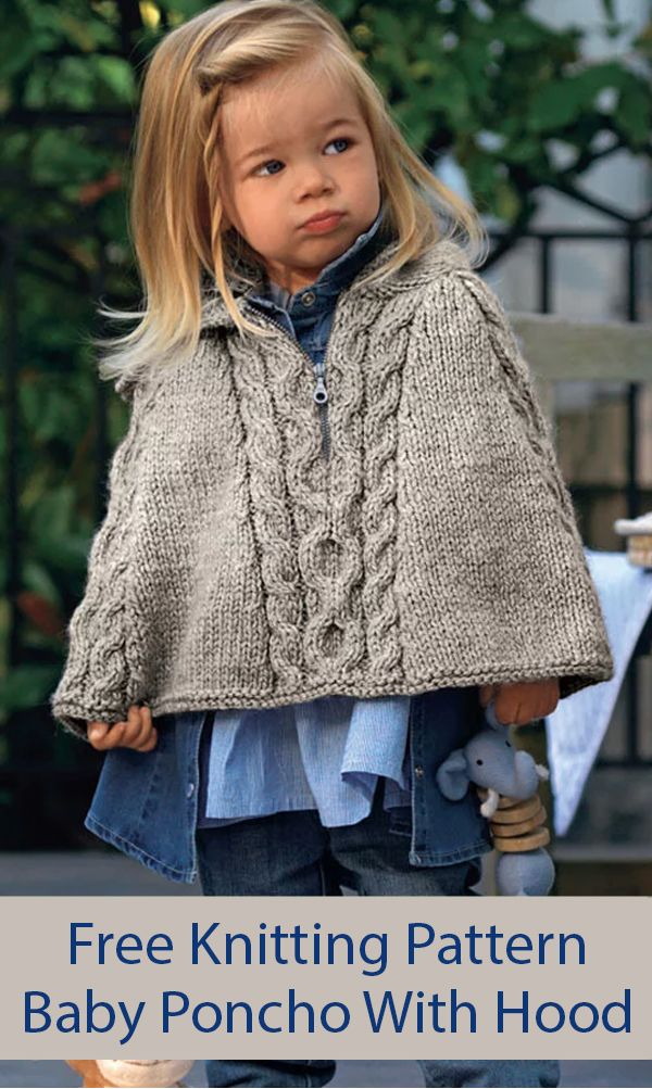 Free Knitting Pattern for Hooded Baby Poncho Cape