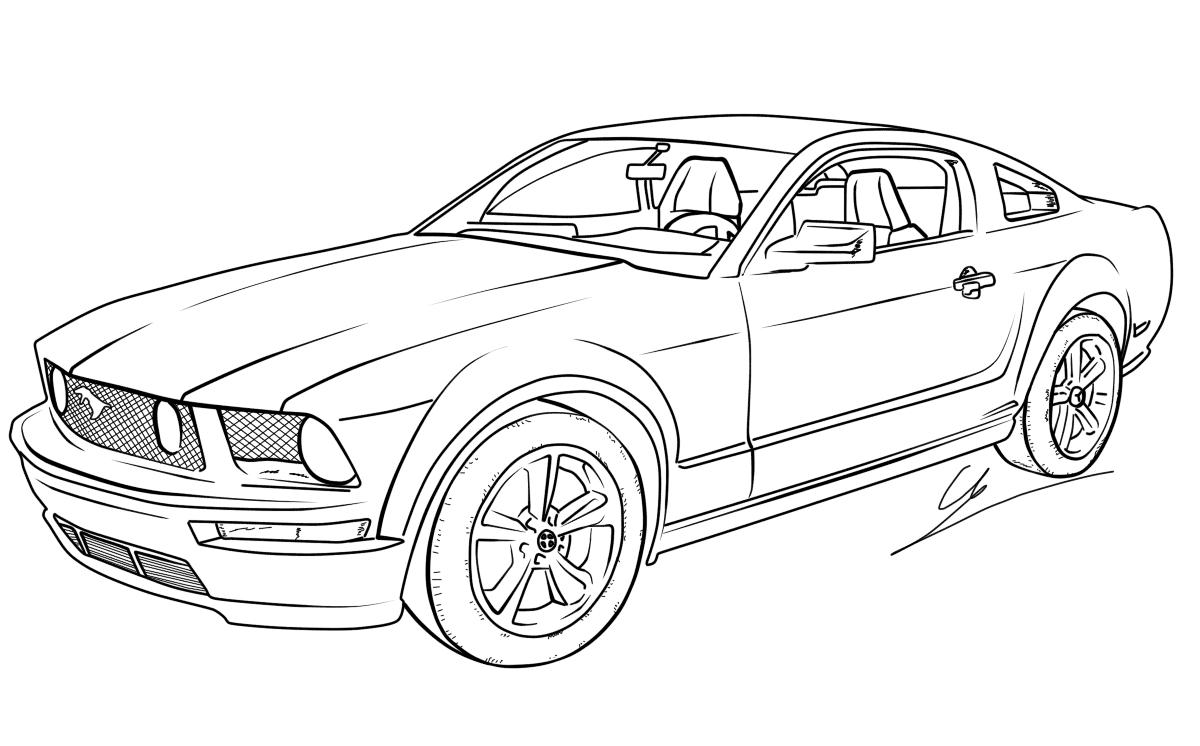 ausmalbilder ford mustang | auto zeichnen, malvorlage auto