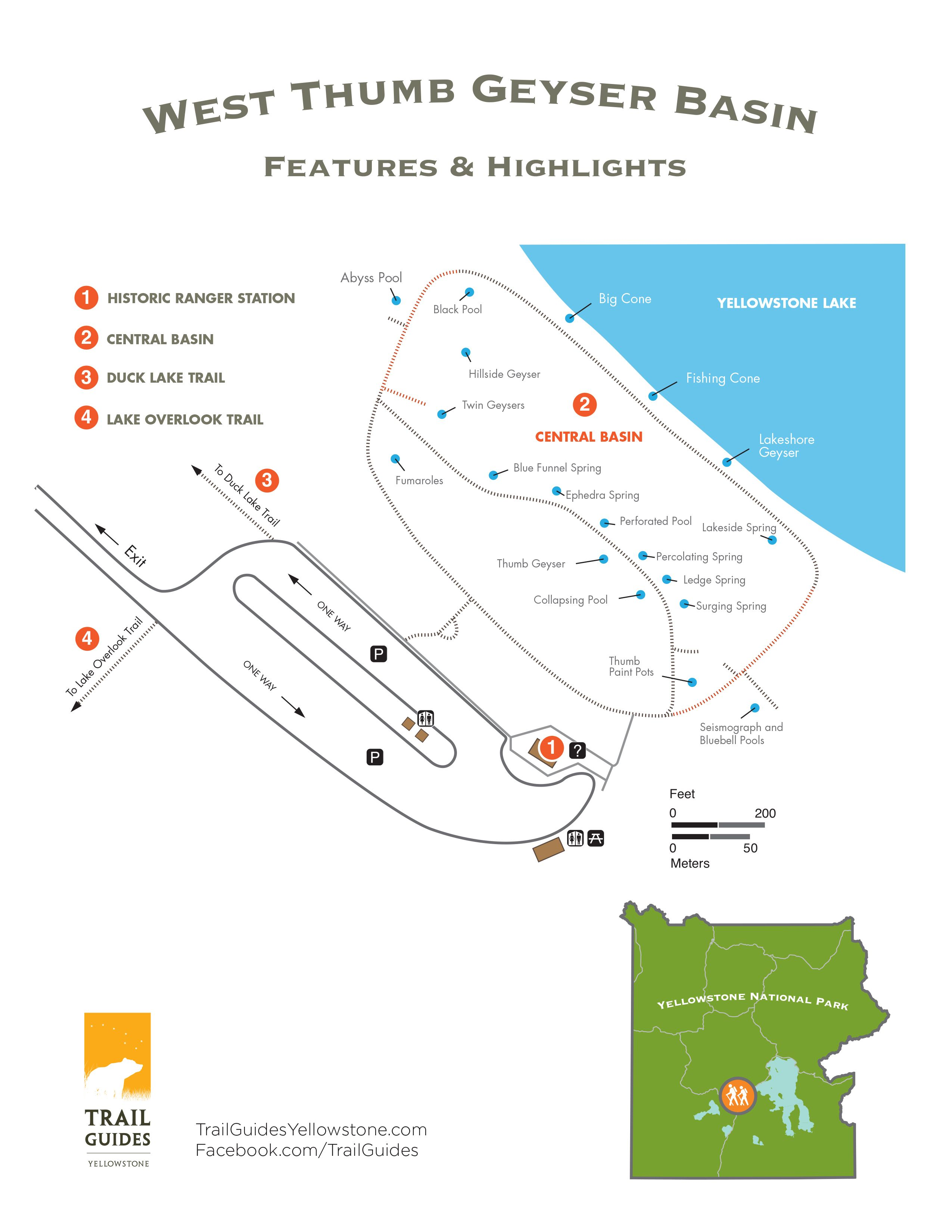 West Thumb Geyser Basin trail map | Family road trips ... on map of grand prismatic spring, map of yellowstone geysers, map of mud volcano, map of firehole canyon drive, map of mystic falls, map of yellowstone national park, map of old faithful area, map of yellowstone river,