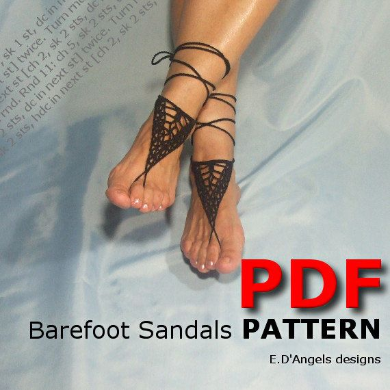 Barefoot sandals | Crochet | Crochet pattern | yoga | TRIANGLE ...