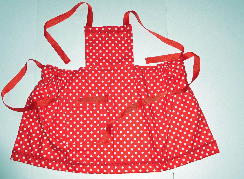 White apron etsy - Red White Polka Dot Girls Bib Gathered Apron Girls Aprons Bib Aprons Kids Aprons Size 6 Girls