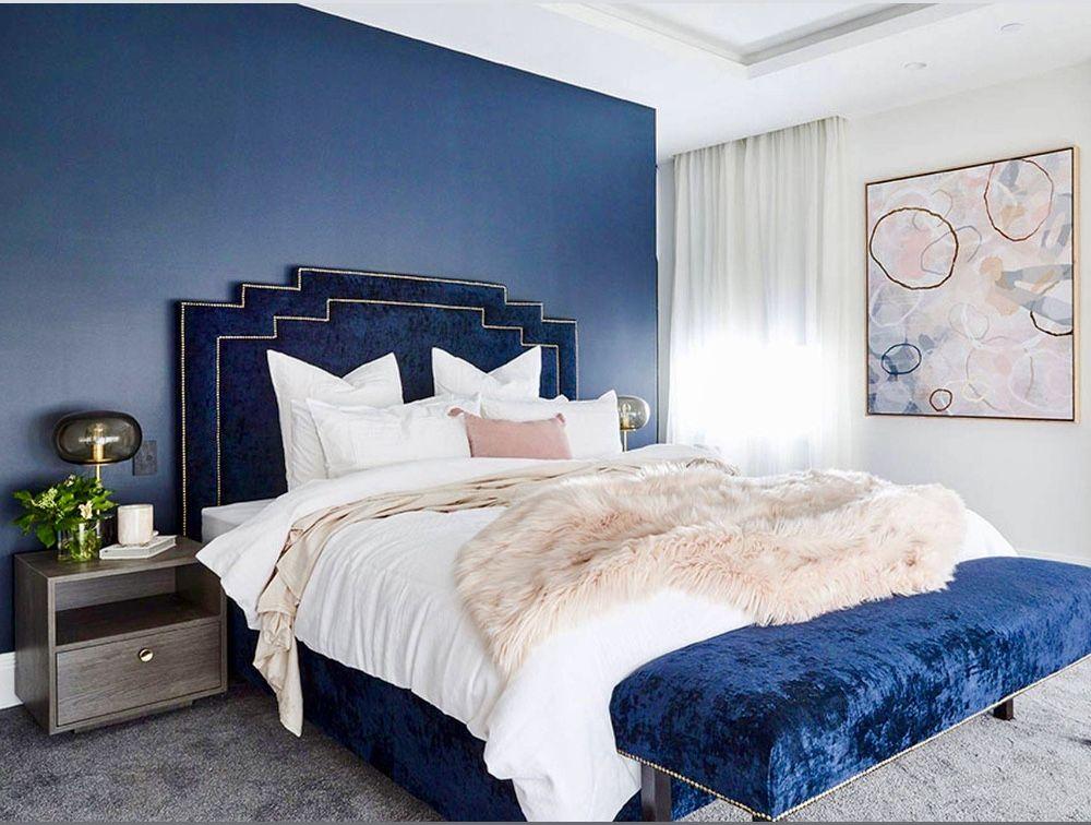 Best Transitional Blue Bedroom With Blue Velvet Bed Blue Decor 640 x 480
