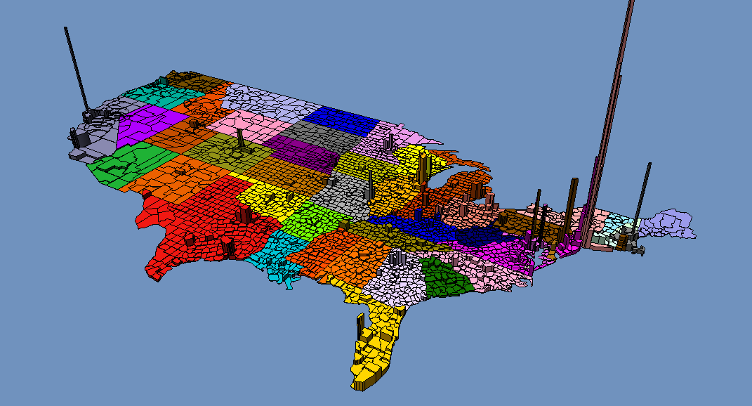 3d Usa Population Density Separated By County Divided By State - Us-map-separated-by-region