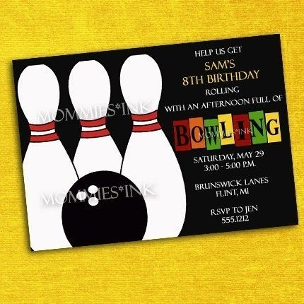 Ten Pin Bowling Party Invitation - PRINTABLE INVITATION DESIGN - bowling flyer template