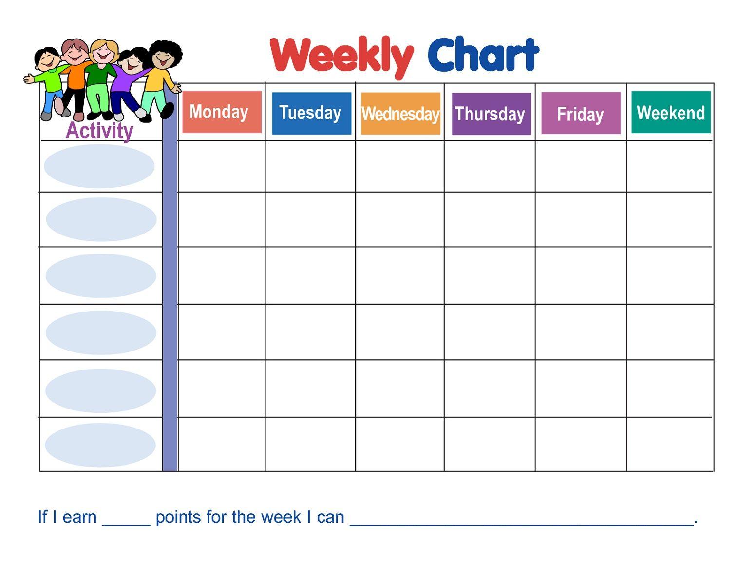 Printable Weekly Behavior Reward Chart