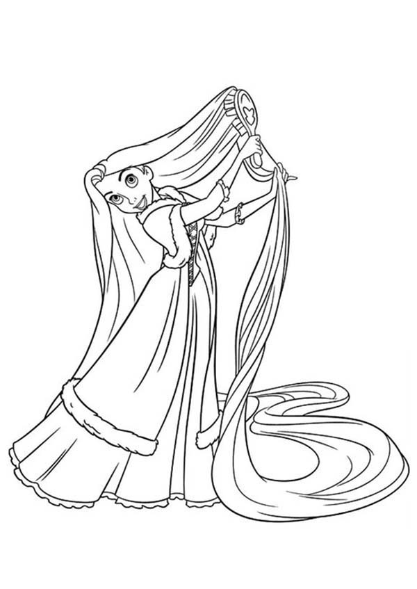 Rapunzel Comb Her Hair Coloring Page Kids Play Color Disney Princess Coloring Pages Princess Coloring Pages Tangled Coloring Pages