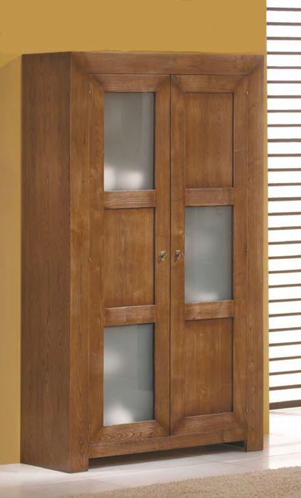 vitrina maciza de #roble estilo rústico de dos puertas de madera y ...