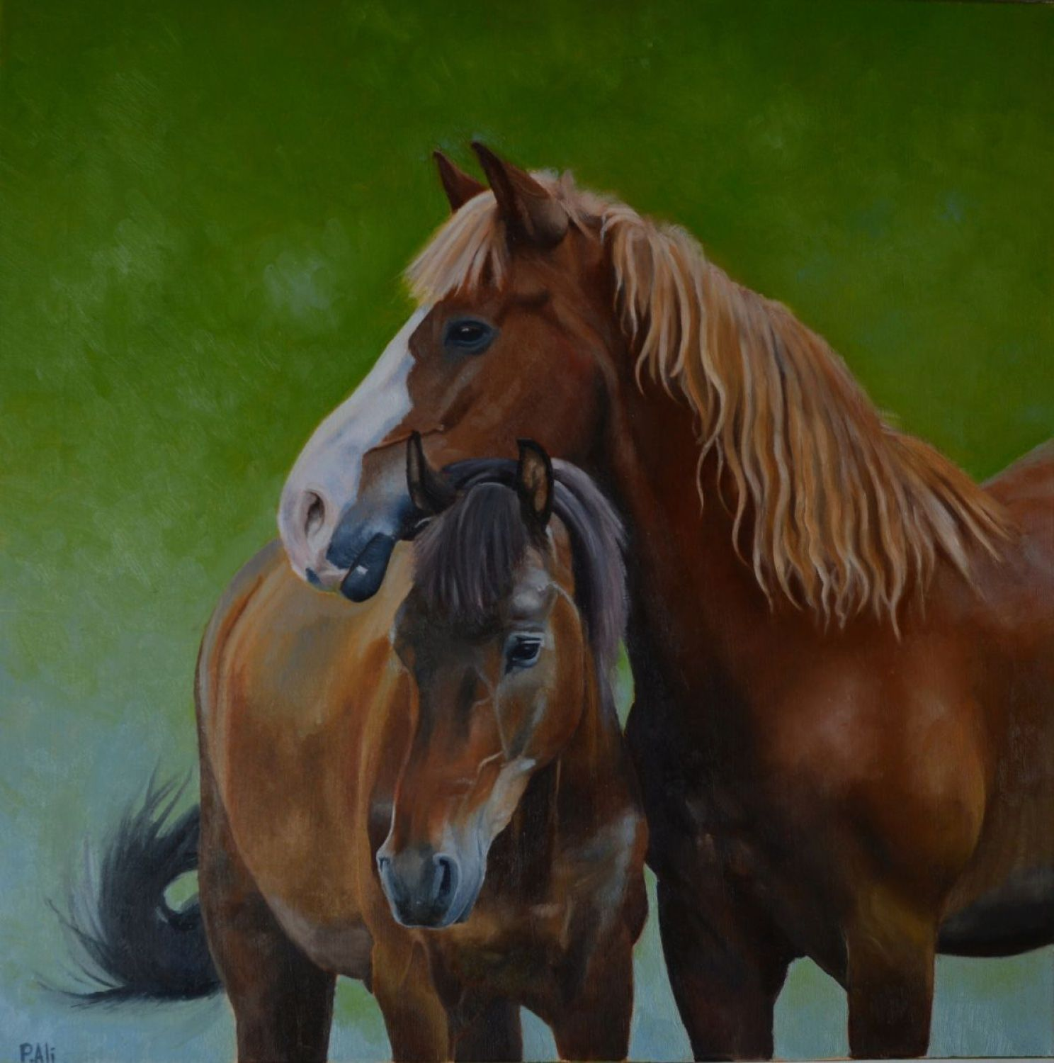 """Horses tenderness"" a mother and a baby horse....i really liked to paint this piece because of beautiful colors and subject...  Oil on canvas - 40 x 40 cm (about 3 x 5 inches)    Signed on th..."