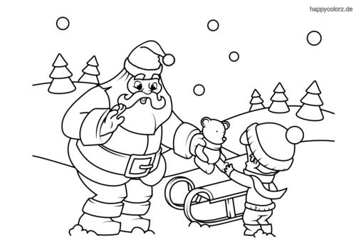weihnachtsmann mit kind und teddy malvorlage