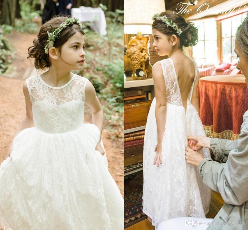 Romantic new arrival boho country flower girl dresses for