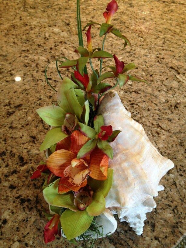 Conch Shell Floral Centerpiece Seashell WeddingSeashell