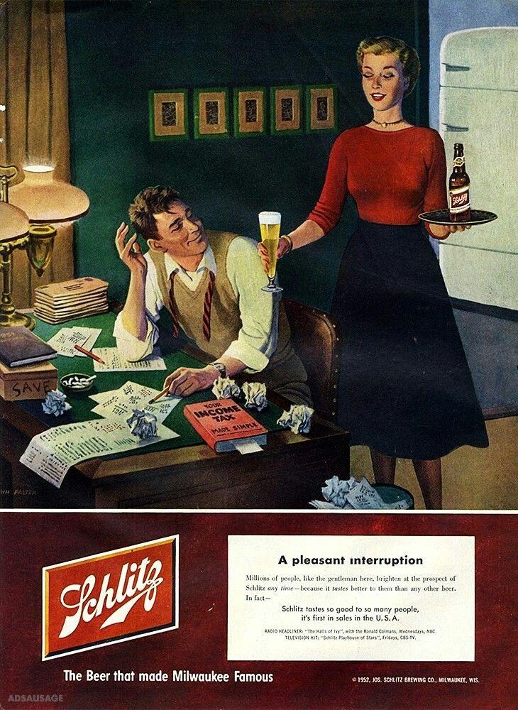 Schlitz 1952 Schlitz beer, Beer advertisement, Beer prints