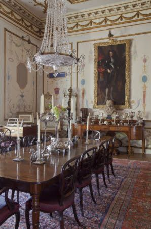 the dining room at hatchlands park, surrey , england | interiors