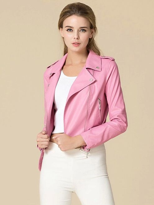 ce41d1dff276 Baby Pink Leather Biker Jacket