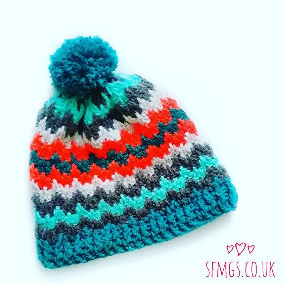 Crochet Beanie Hat Pattern Retro | Zig Zag Chevron Bobble Hat ...