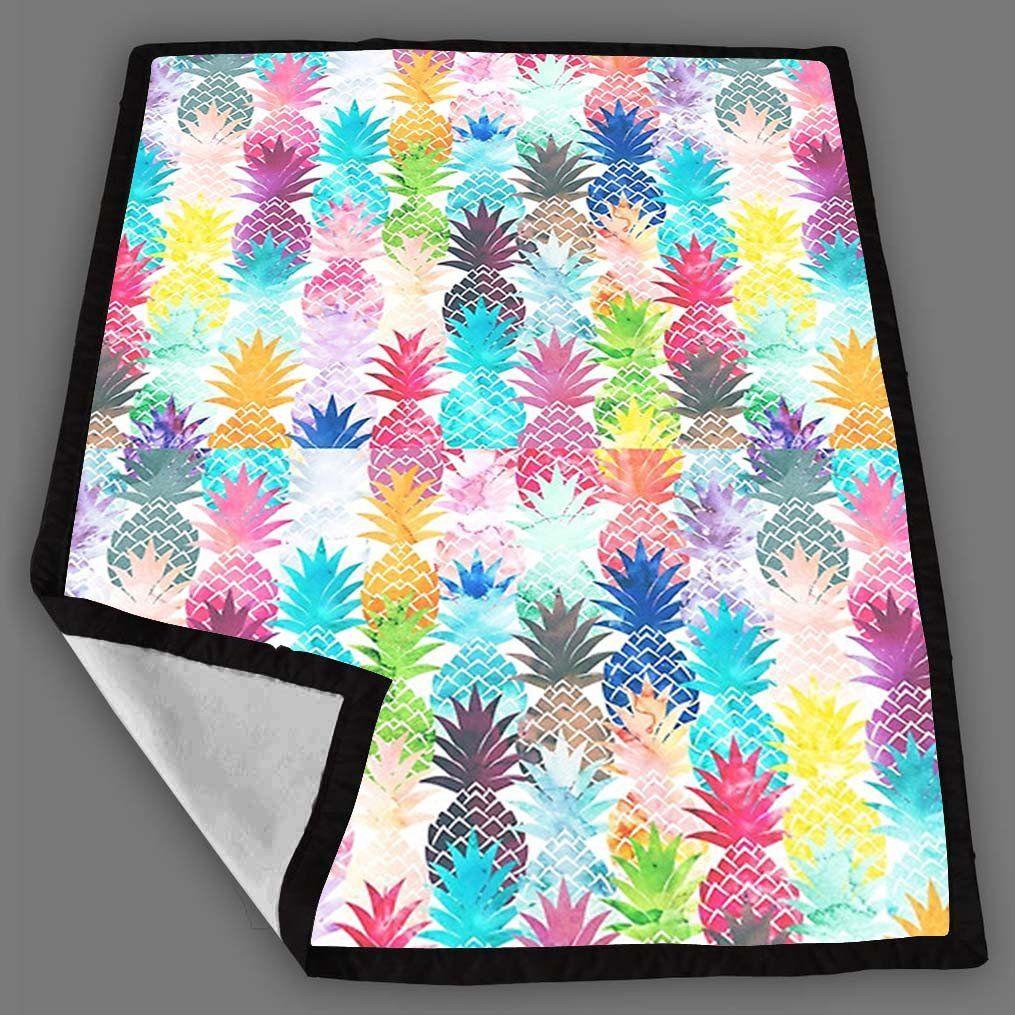 Hawaiian Pineapple Pattern Tropical Watercolor Blanket Fleece Design