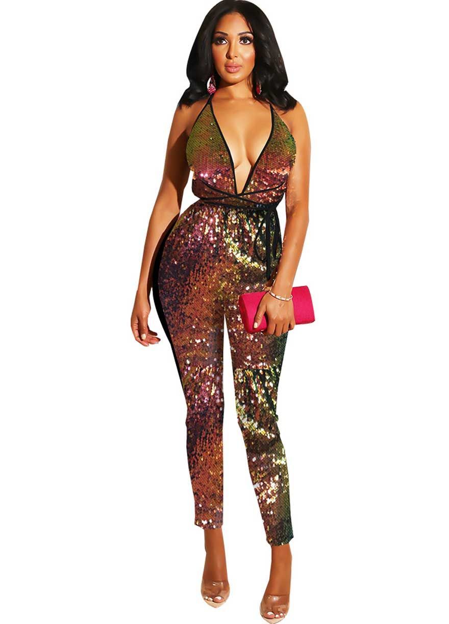 9655f1f4b7 Colorful Sequins Strappy Open Back Jumpsuit_Clubwear ...