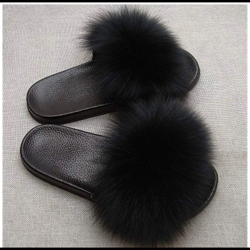 Details about  /Women/'s Peep Toe Fluffy Slippers Flat Flip Flops Slip On Anti-slip Shoes Size
