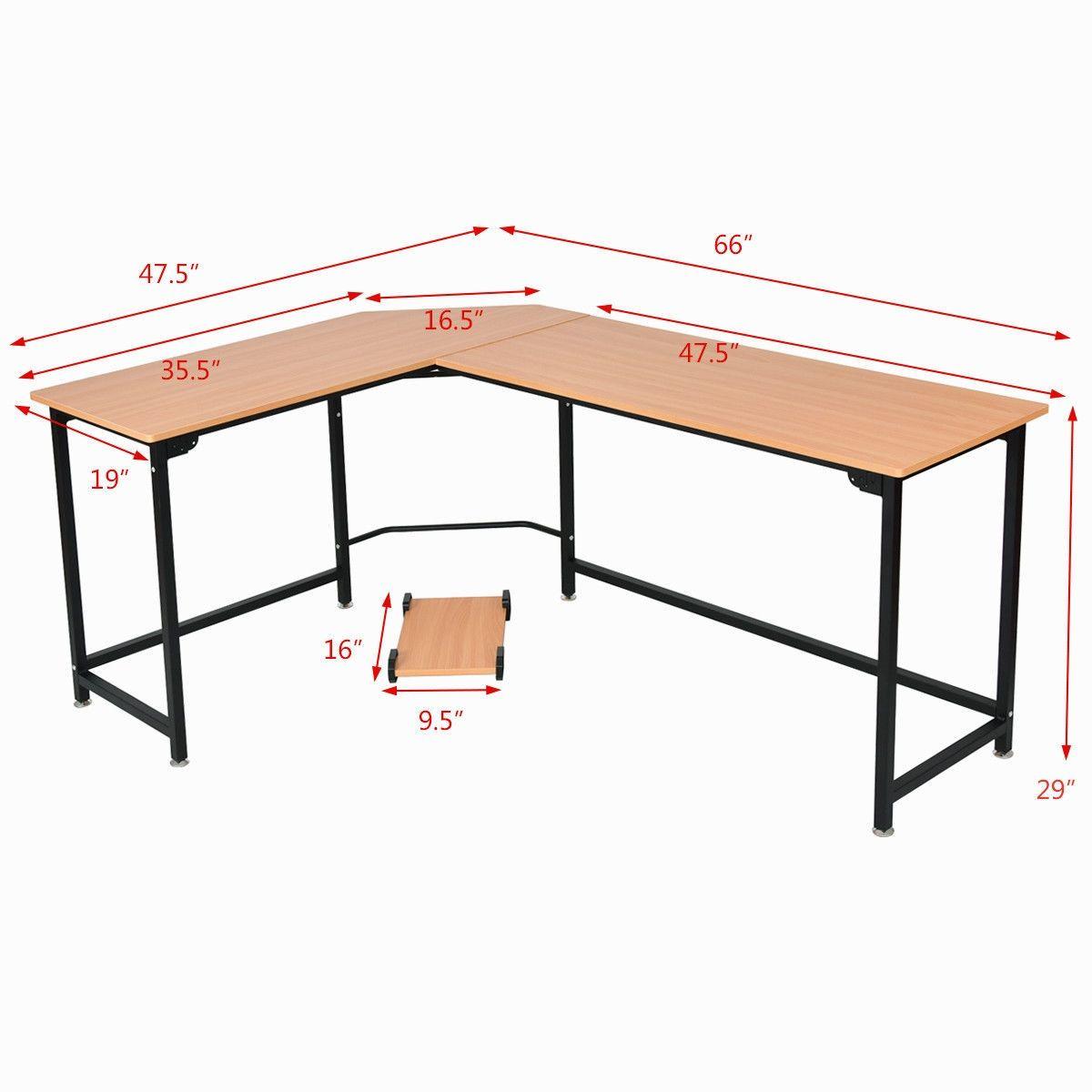 L Shaped Corner Study Computer Desk