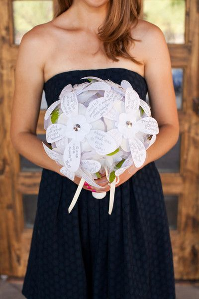 for a bridal shower have guests put well wishes or favorite scripture on individual paper petals then make a flower arrangement for rehearsal very
