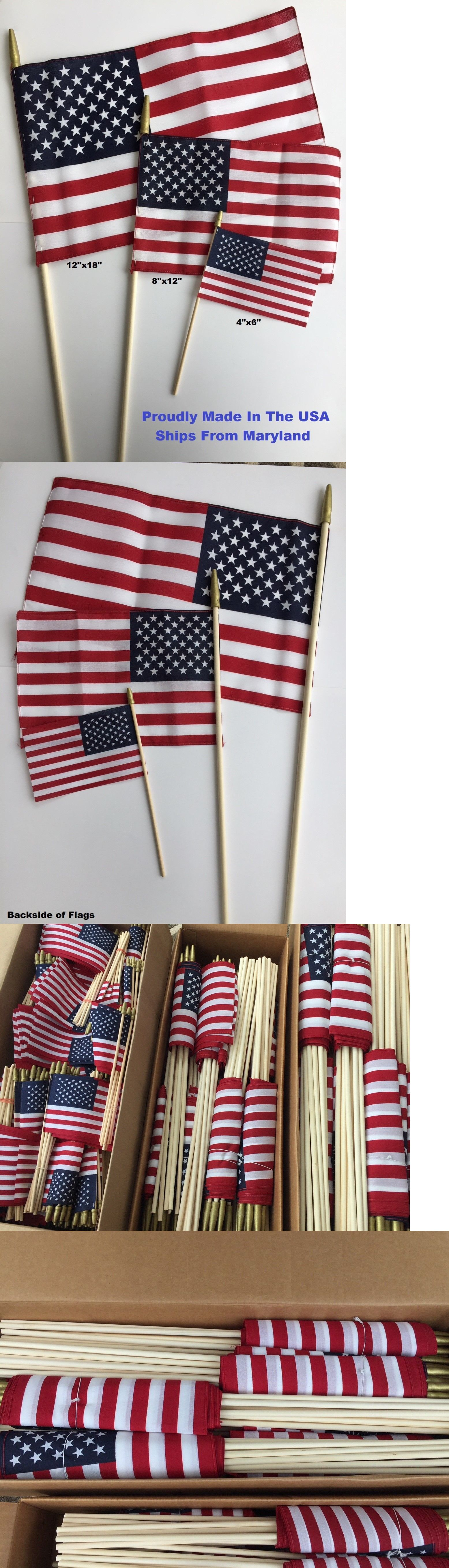 American Flags On A Stick United States Made In Usa 4x6 8x12 12x18 Hand Held Ebay How To Make American Flag Bold Colors
