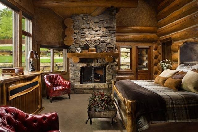 Rustic living roim country/mountain home Pinterest Cabin, Log