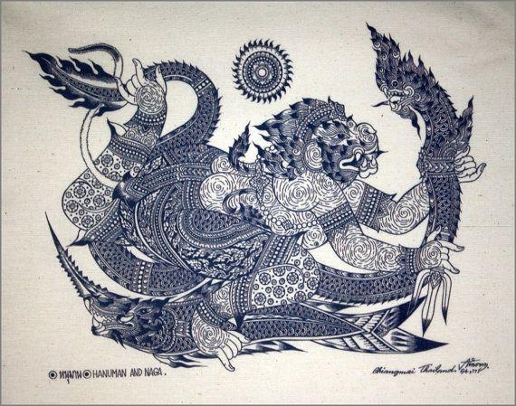 5ca163205 The new art Hanuman And Naga. Handmade with a Hanuman And Naga design on  paper. Then remove the Hanuman And Naga design and then put into a Natural