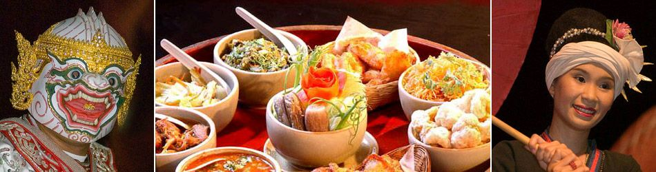 Cena di Khantokhe: Durante la cena, ci sono le danze tradizionali e spettacoli culturali delle minoranze etniche. I piatti principali sul Khantok sono il riso cotto al vapore, il Kaeng Hang-le (il curry di maiale), il Nam Phrikong (carne di maiale macinata e pomodori), il Khaepmu (pelle di maiale croccante) e Khai Tod (pollo fritto). http://viaggi.asiatica.com/