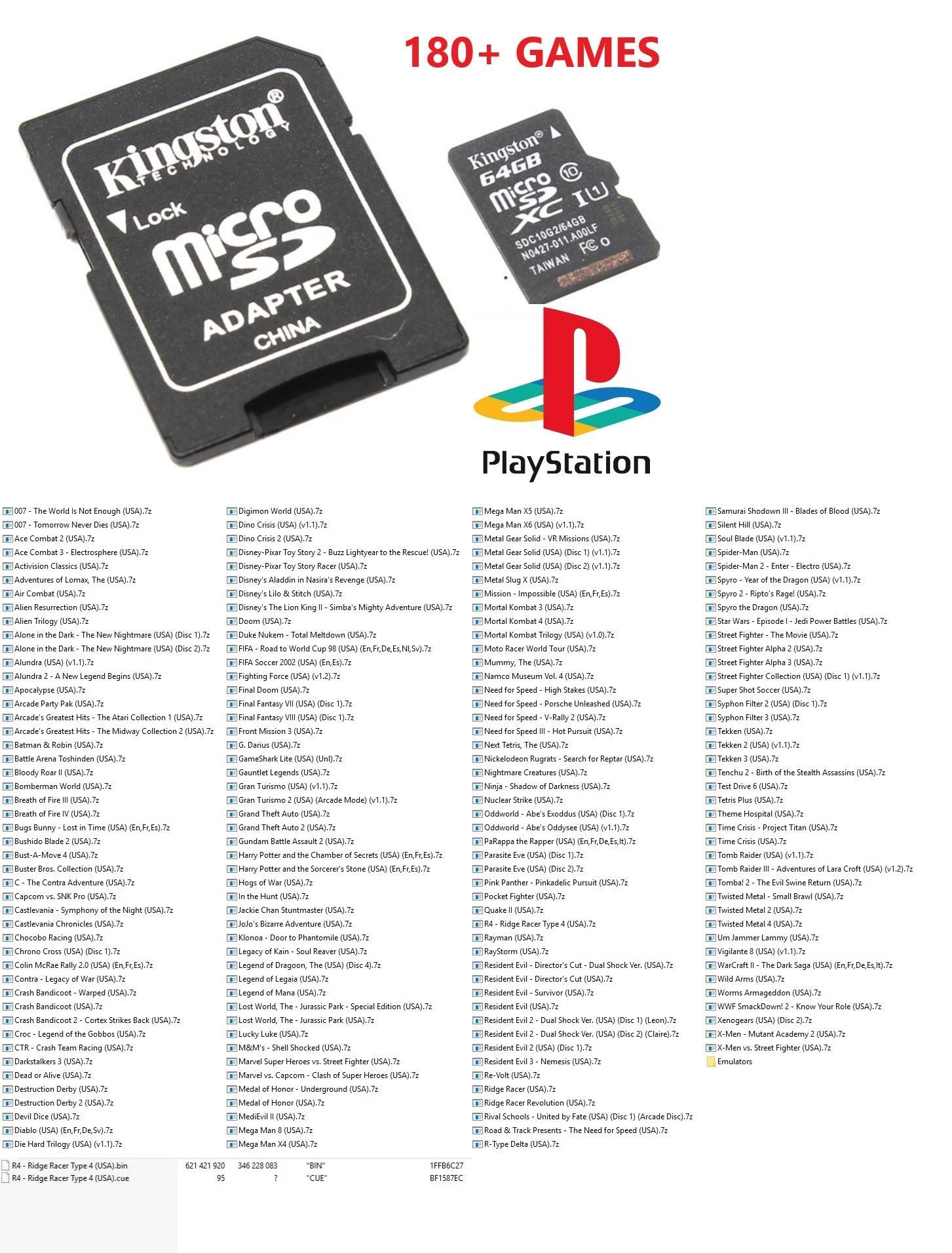hight resolution of memory cards and expansion packs 117045 sd card 64gb with 180 sony playstation classic games psx ps1 emulators buy it now only 39 99 on ebay