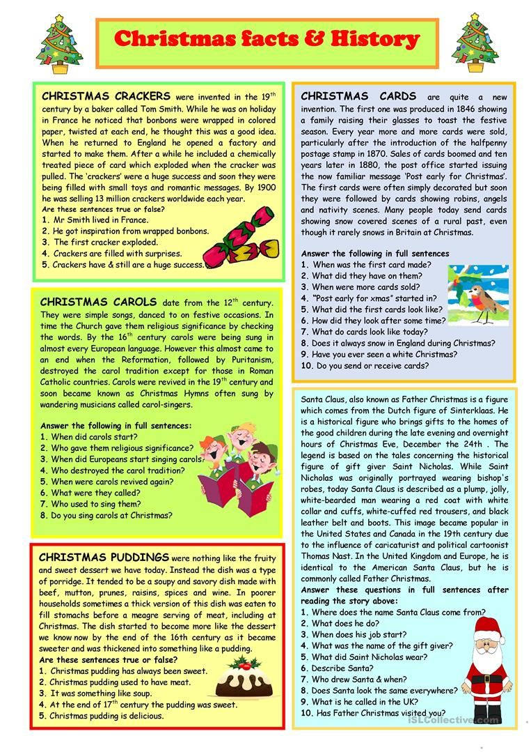 Christmas Facts History Worksheet Free Esl Printable Worksheets Made By Teachers Christmas Trivia Christmas Worksheets Christmas History Free christmas reading worksheets for