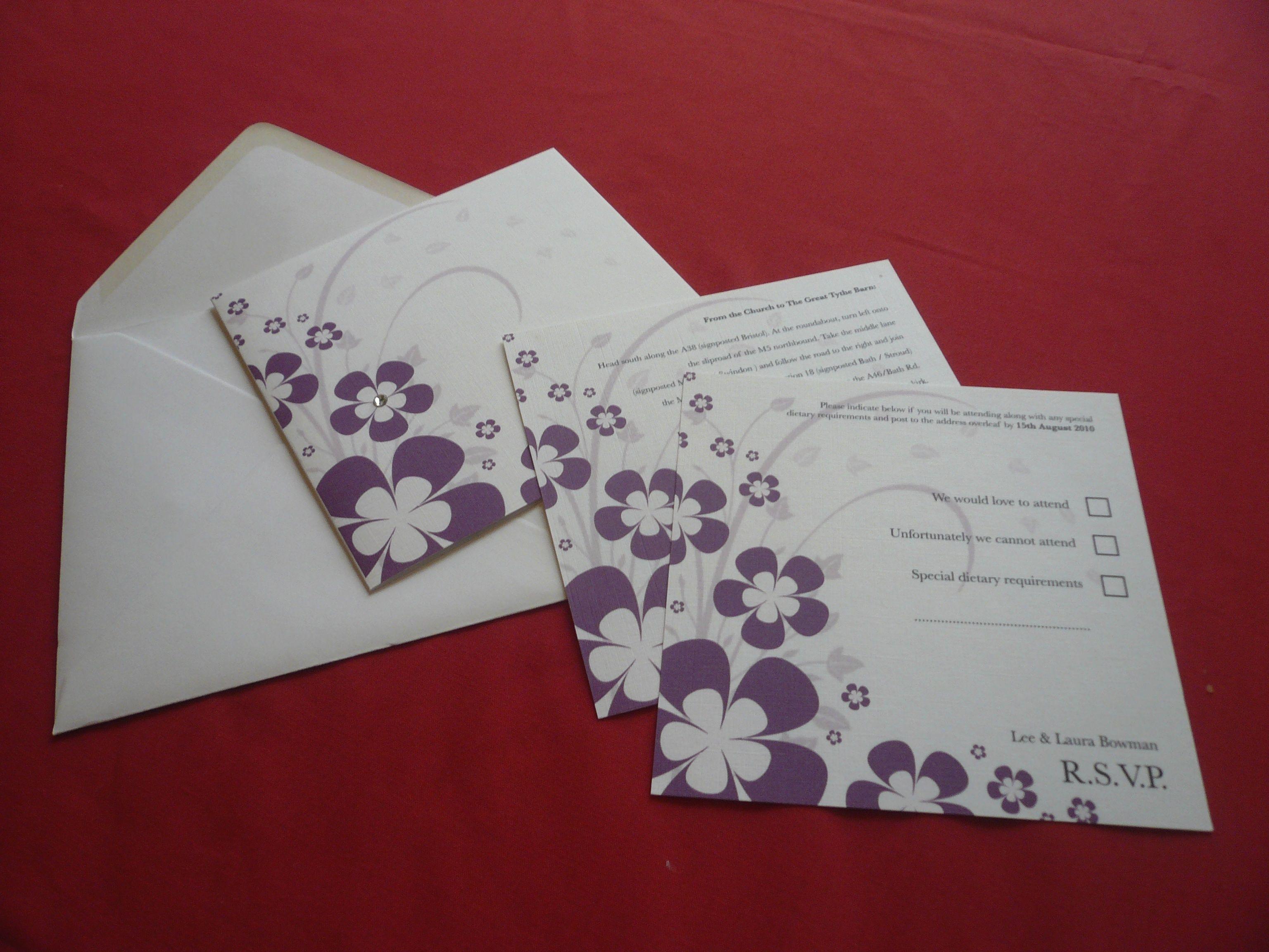 Beautiful purple flowers on a square card invitation   Wedding ...