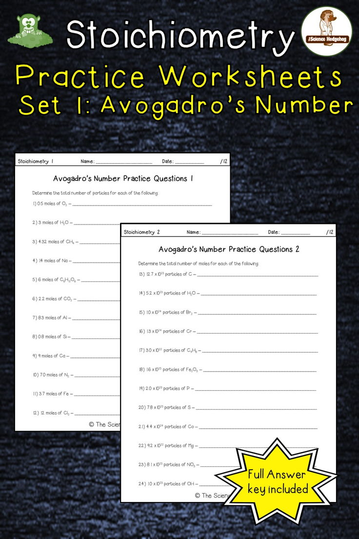 Avogadro's Number Stoichiometry (moles) Worksheet Set 1