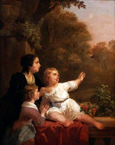 Mother And Her Two Children In A Landscape