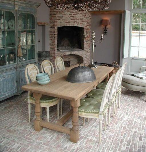 Farmhouse brick floors in dining room Flooring Ideas