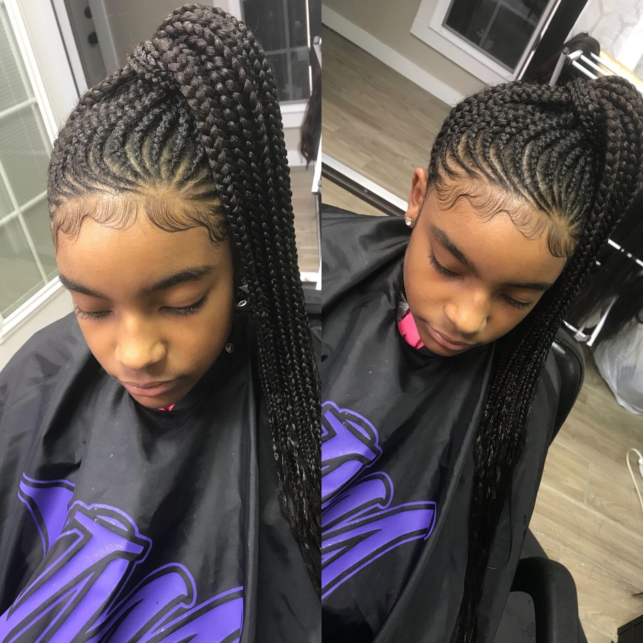 invisible ponytail @styledby_yalemichelle feedin braids