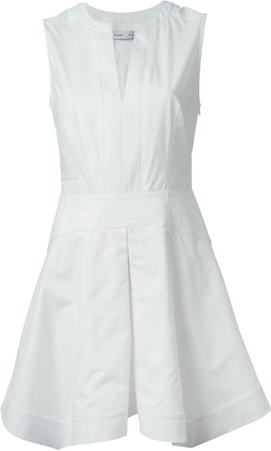 $323, White Skater Dress: Proenza Schouler Sleeveless Skater Dress. Sold by farfetch.com. Click for more info: http://lookastic.com/women/shop_items/136493/redirect