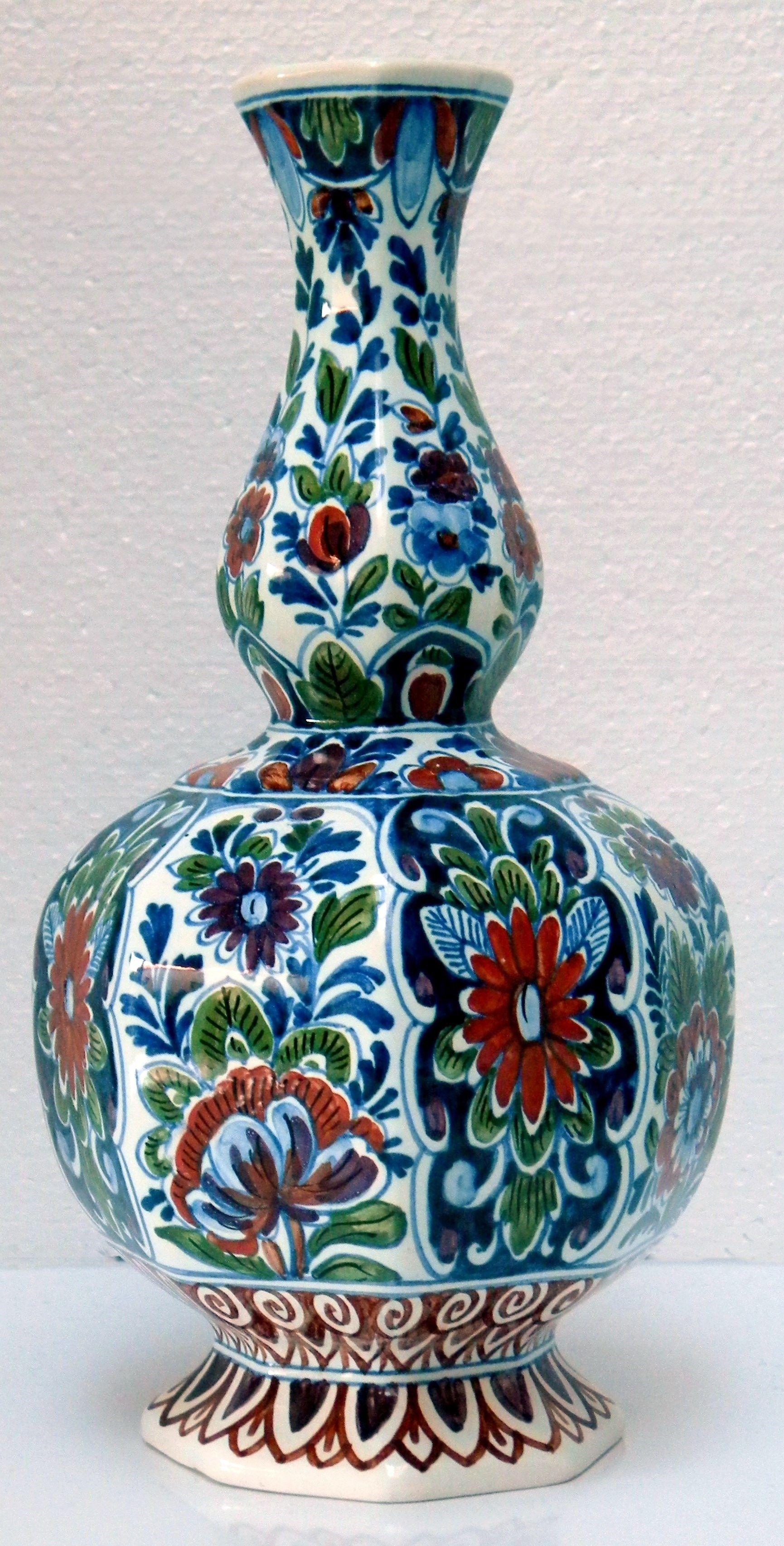 Delft blue polychrome vintage ceramic vase hand painted flowers delft blue polychrome vintage ceramic vase hand painted flowers art pottery collectible reviewsmspy