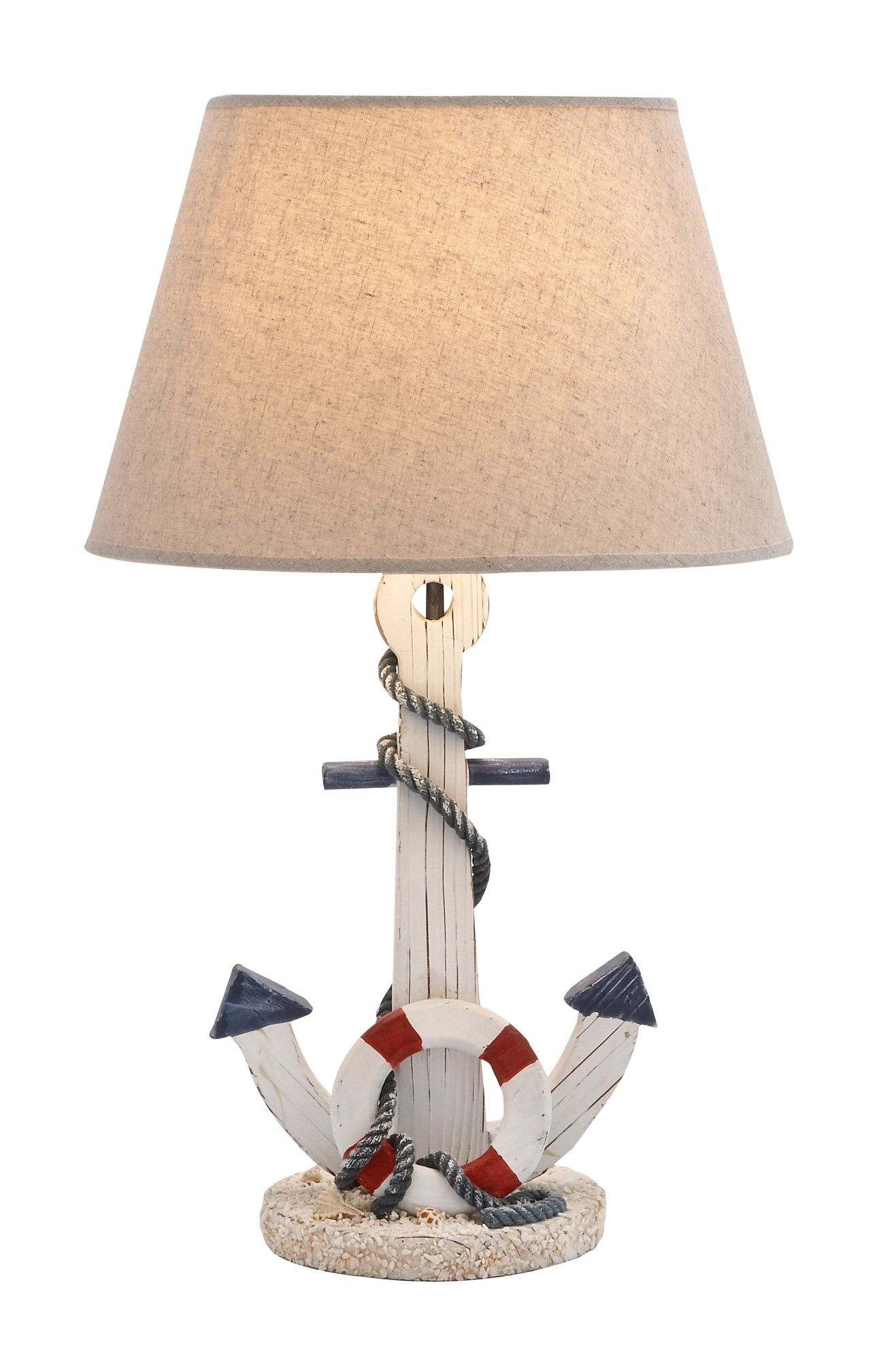 "Woodland Imports Anchor 23"" H Table Lamp with Empire Shade 