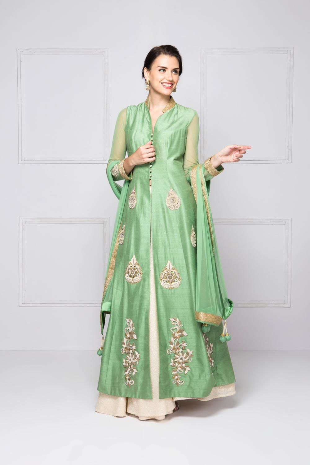 Dress for wedding party female  HOUSE OF OMBRE Lehenga set with a jacket flyrobe weddings