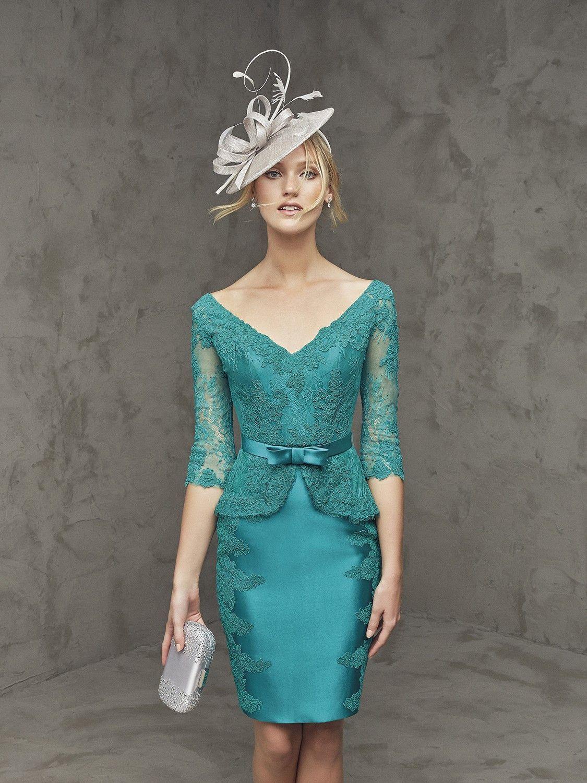 Vestido corto de mikado, tul y encaje | Products | Pinterest ...