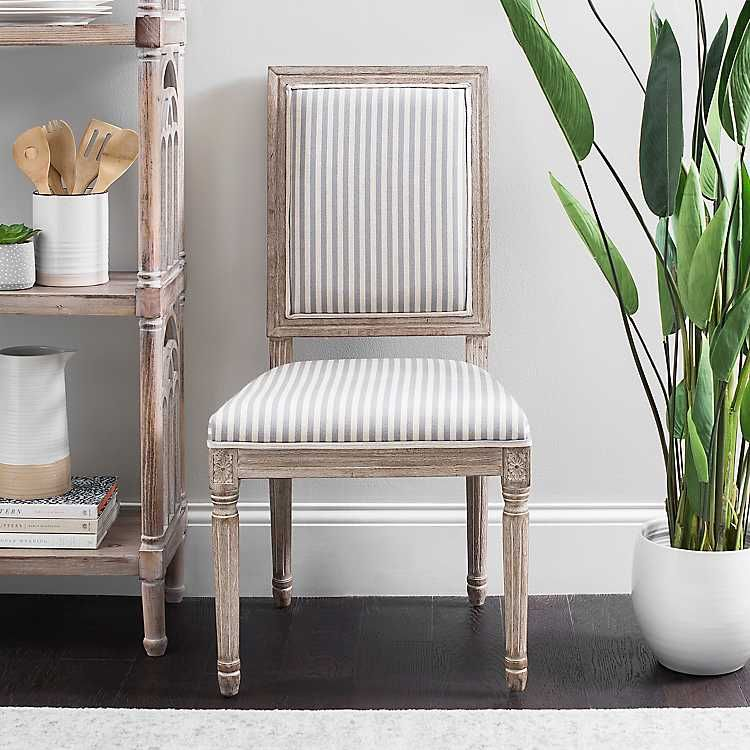 Gray Stripe Rectangular Louis Dining Chair in 2020 ...
