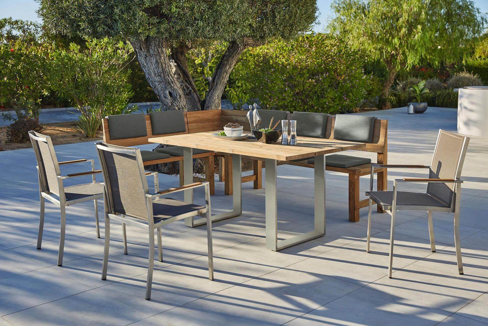Gartentisch 160x95 Cm Aus Edelstahl Teak Massiv Gartentisch Holz Gartenmobel Sets Gartentisch Set