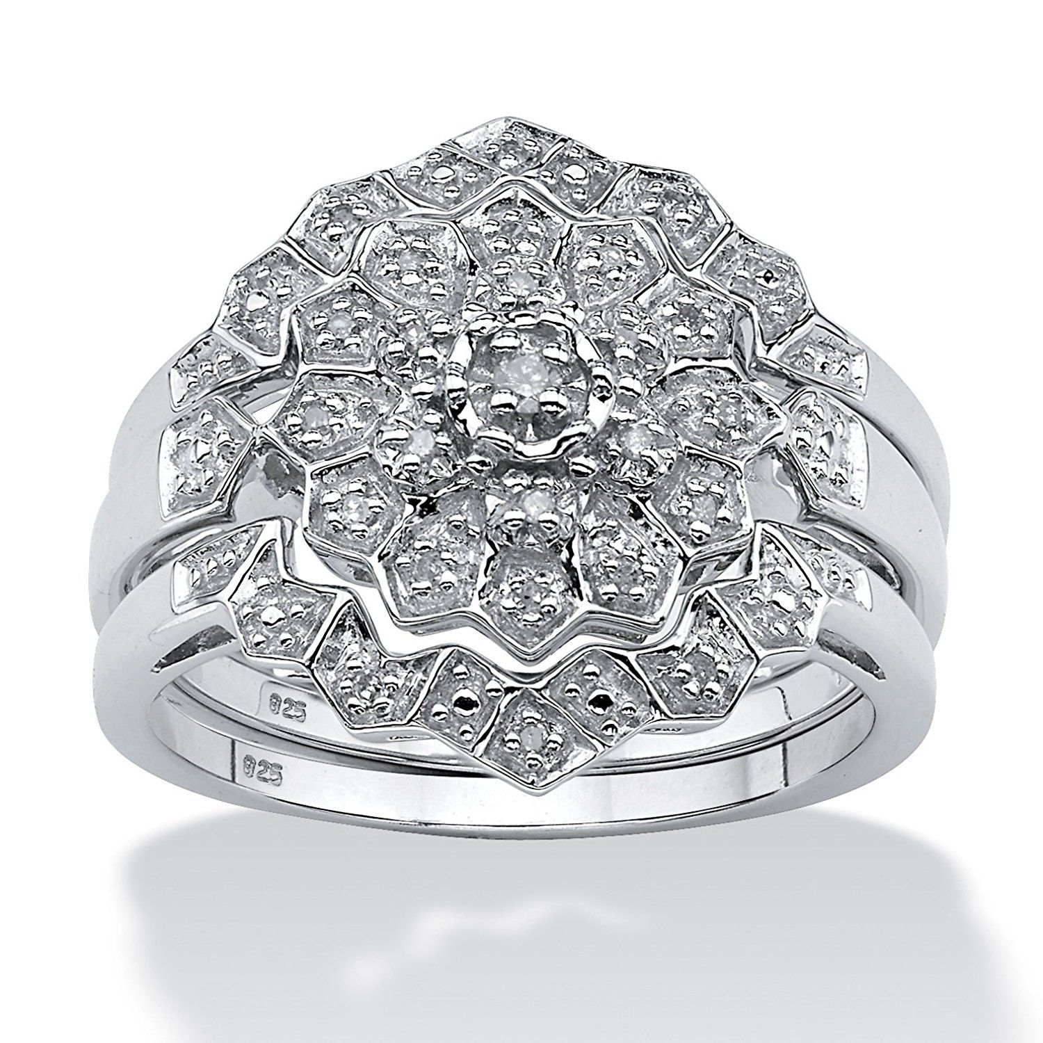 White Diamond Platinum over 925 Silver 3 Piece Bridal Ring Set