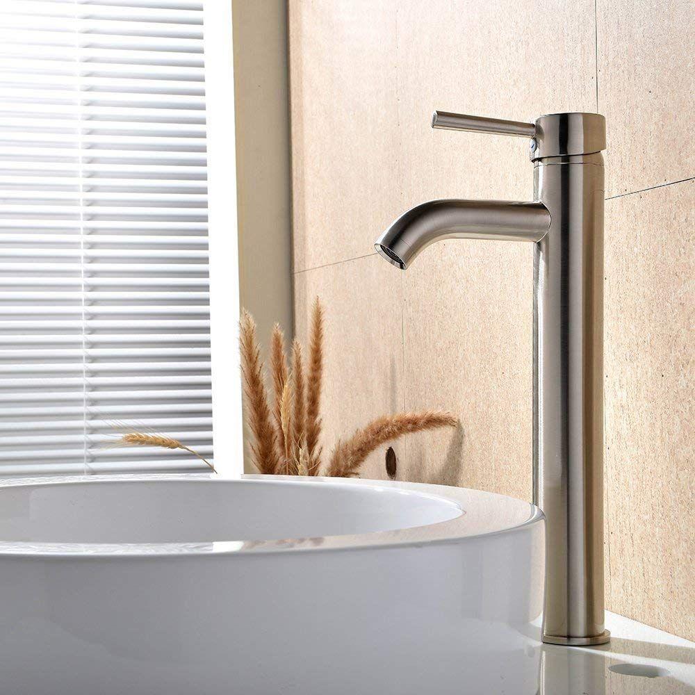 Wovier Brushed Nickel Waterfall Bathroom Sink Faucet Single Handle Single Hole Vessel Lavatory Faucet Ba Bathroom Sink Faucets Lavatory Faucet Basin Mixer Taps